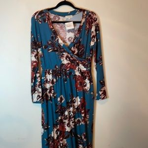 NWT Sweet Lovely Teal Floral Maxi Dress